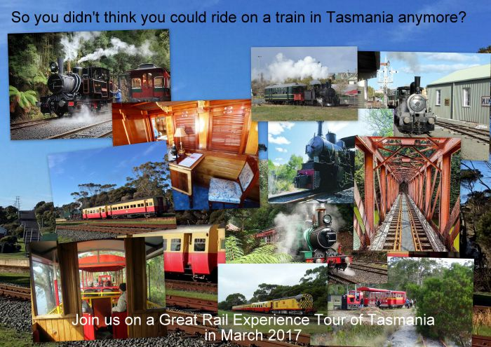 Great Rail Experiences  Tasmania Tour 2017 - Maitland Accommodation